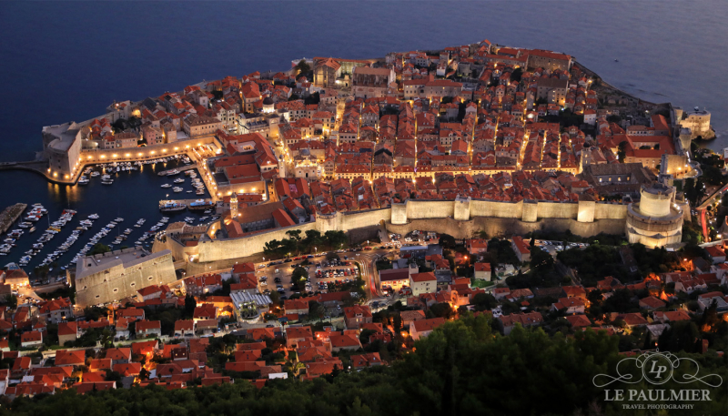 Dubrovnik Croatia Aerial Twilight