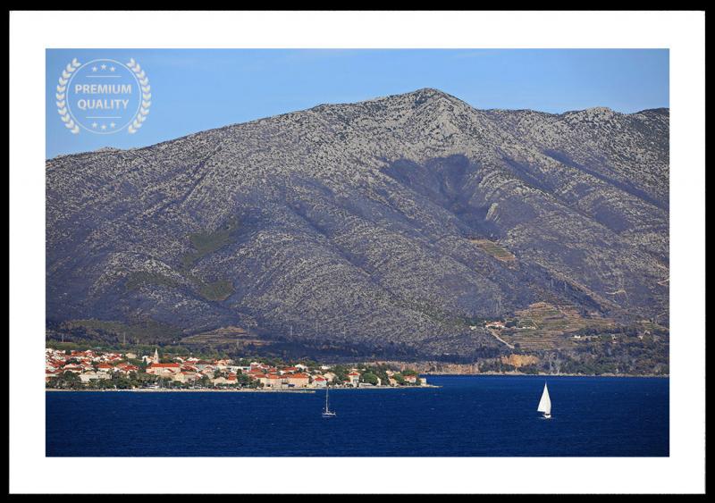 Mountain Facing Korcula Croatia Photo Frame