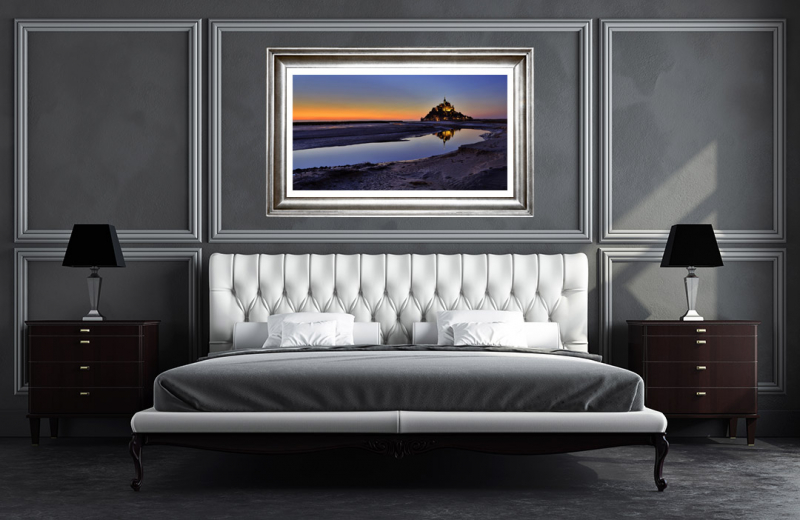 Artwork - Mont Saint Michel Sunset Sample Frame On Wall