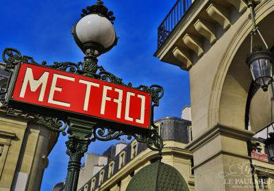 Paris France Retro Metro Sign
