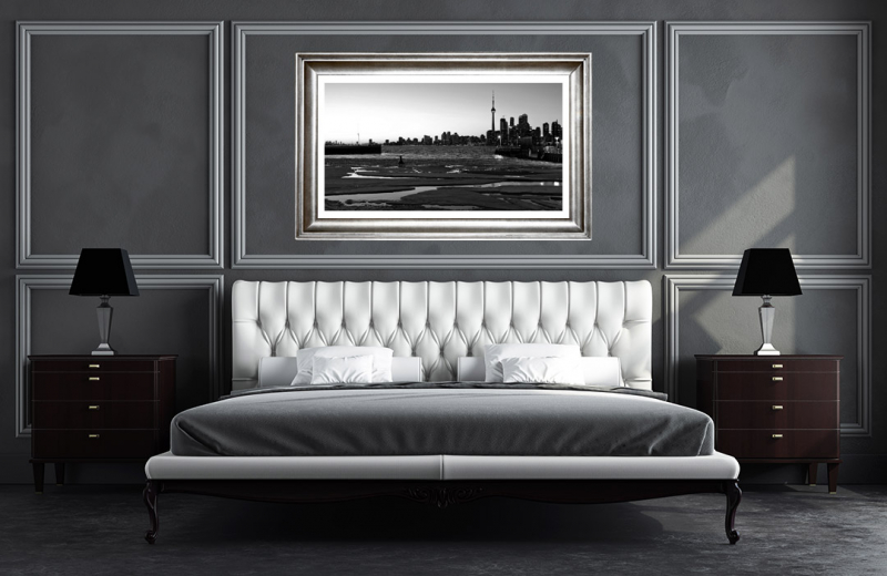 Artwork - Toronto Canada Spring Sunset Black & White Frame On Wall